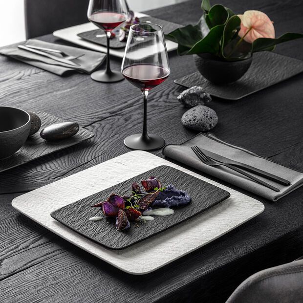 Manufacture Rock blanc Dinner Set, quadratisch