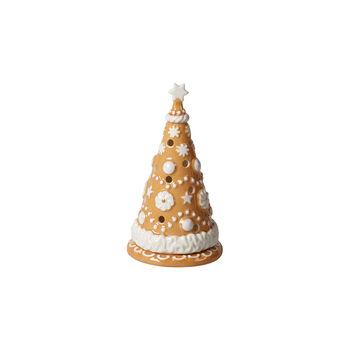 Winter Bakery Decoration kleiner Lebkuchenbaum, braun/weiß, 8 x 8 x 15 cm