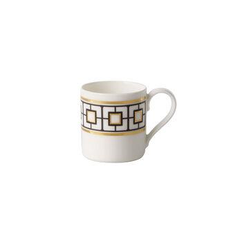 MetroChic Mokka- und Espressotasse, 80 ml, Weiß-Schwarz-Gold