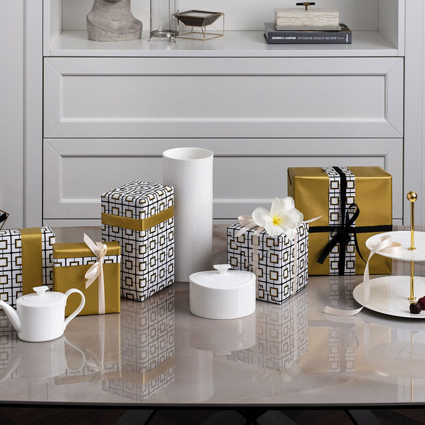 MetroChic blanc Gifts Vase hoch 13x13x30,5cm, , large