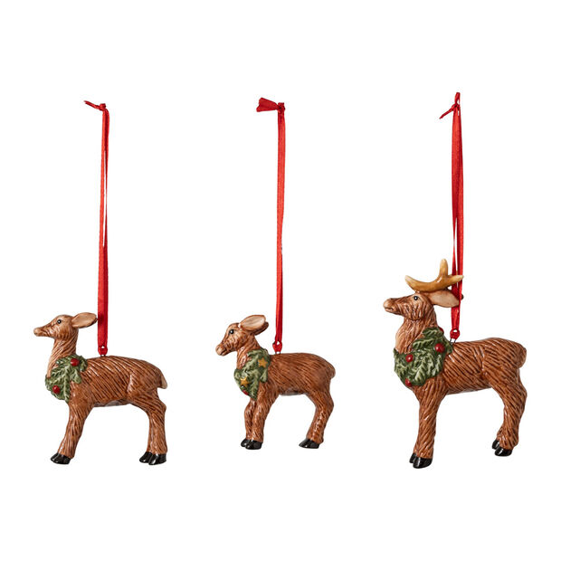 Nostalgic Ornaments Ornamente-Set Hirschfamilie, 7 x 6 cm, 3-teilig, , large