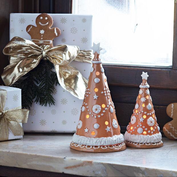 Winter Bakery Decoration kleiner Lebkuchenbaum, braun/weiß, 8 x 8 x 15 cm, , large