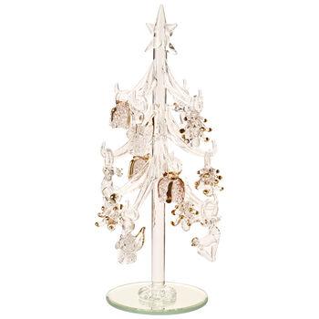 Winter Collage Accessoires Glasbaum mit Ornamenten, gold, 8 cm