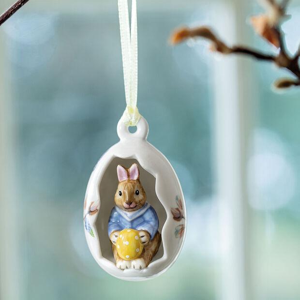 Bunny Tales Ornament-Ei Max, blaue Blüten, 7 cm, , large