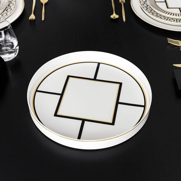 MetroChic Servier- und Dekoschale, Durchmesser 33 cm, Tiefe 4 cm, Weiß-Schwarz-Gold, , large
