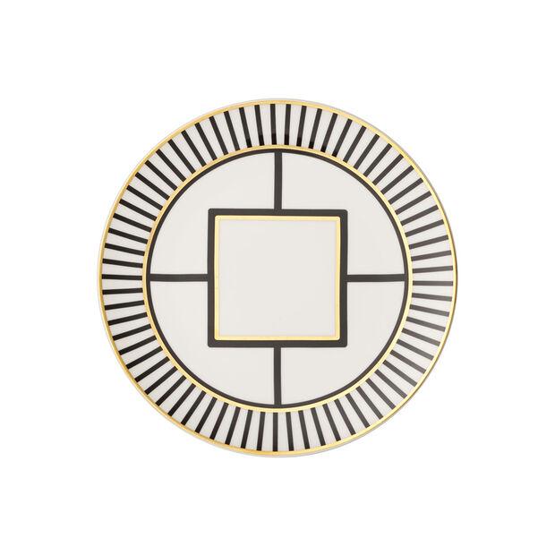 MetroChic Dessert- und Frühstücksteller, Weiß-Schwarz-Gold, , large