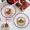 Christmas Glass Accessories Schale klar Santa auf Dach 250mm, , large