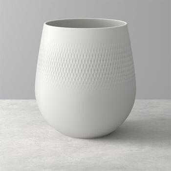 Manufacture Collier blanc Vase Carré groß 20,5x20,5x22,5cm