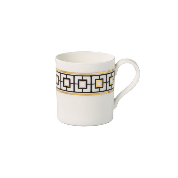 MetroChic Kaffeebecher, 11 x 8 x 9 cm, Weiß-Schwarz-Gold, , large