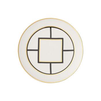 MetroChic Dessert- und Frühstücksteller, Durchmesser 22 cm, Weiß-Schwarz-Gold