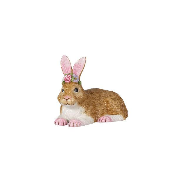 Easter Bunnies Hase klein, liegend mit Blumenkranz 11,5x6,5x8,5cm, , large