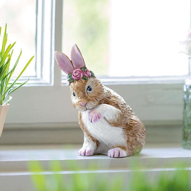 Easter Bunnies kleiner Hase mit Blumenkranz, braun/rose, , large