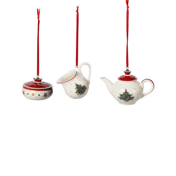 Toy's Delight Decoration Ornamente Kaffee-Set, weiß/rot, 3-teilig, 6,3 cm