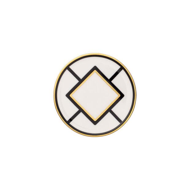 MetroChic Untersetzer, Durchmesser 11 cm, Weiß-Schwarz-Gold, , large