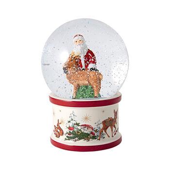 Christmas Toys große Schneekugel Santa und Hirsch, 13 x 13 x 17 cm