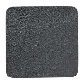 Manufacture Rock quadratische/r Servierplatte/Gourmetteller, schwarz/grau, 32,5 x 32,5 x 1,5 cm