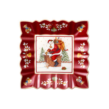 Toy's Fantasy eckige Schale Santa auf Dach, rot/bunt, 23 x 23 x 3,5 cm