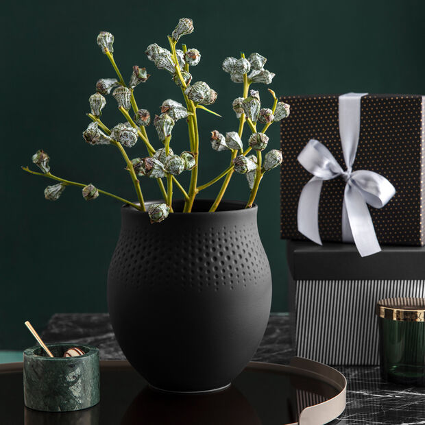 Manufacture Collier noir Vase Perle groß 16,5x16,5x17,5cm, , large