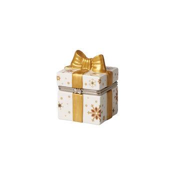 Christmas Toy's eckiges Geschenkpaket, gold/weiß, 7 x 6 x 9 cm