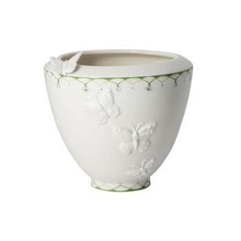 Colourful Spring breite Vase, weiß/grün
