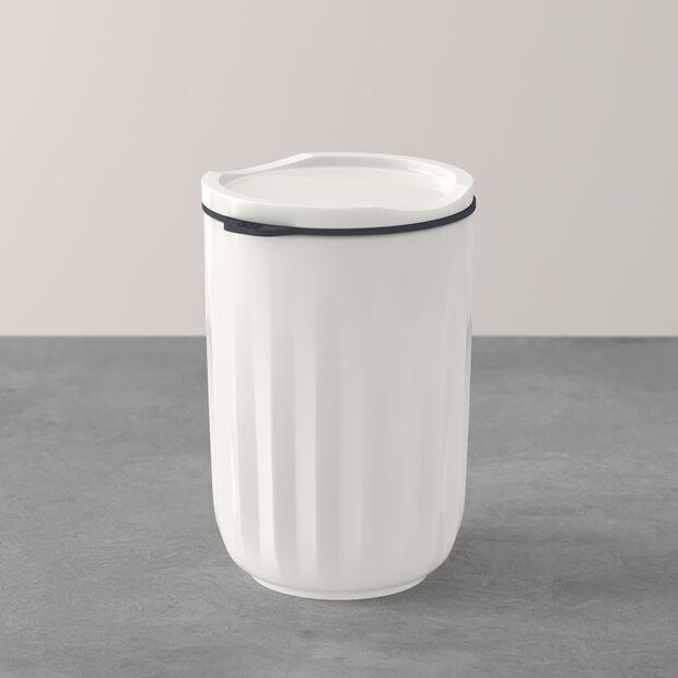 ToGo&ToStay Becher, mit Deckel, 450ml, weiß, , large