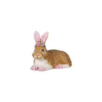 Easter Bunnies Hase klein, liegend mit Blumenkranz 11,5x6,5x8,5cm