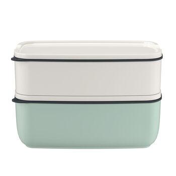 ToGo&ToStay Lunchbox-Set, 2-teilig, eckig, weiß/mintgrün