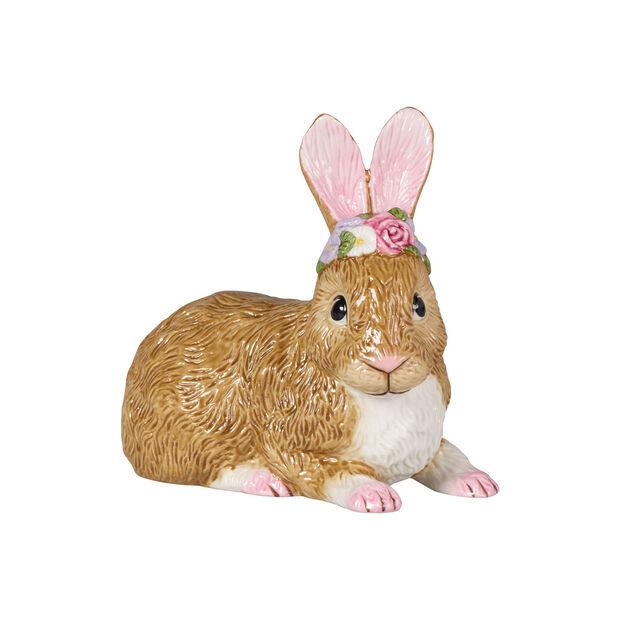 Easter Bunnies großer liegender Hase mit Blumenkranz, braun/rose, , large