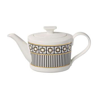 MetroChic Kaffee- und Teekanne, 1,2 l, Weiß-Schwarz-Gold