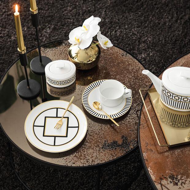 MetroChic Dessert- und Frühstücksteller, Durchmesser 22 cm, Weiß-Schwarz-Gold, , large