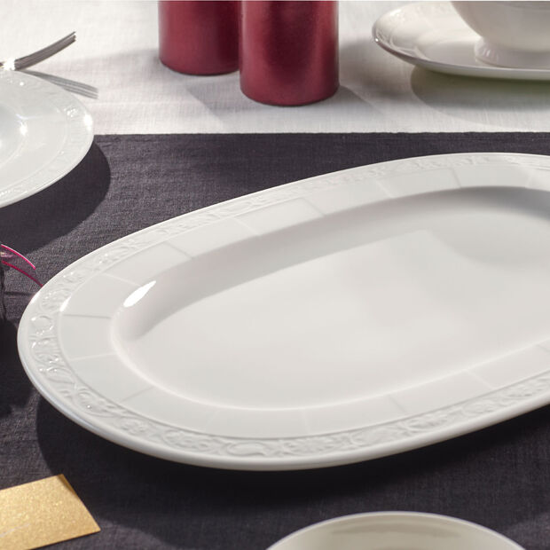 White Pearl Platte oval 41cm, , large