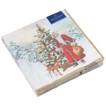 Winter Specials Lunch-Serviette Nikolaus mit Tannenbaum, 33 x 33 cm