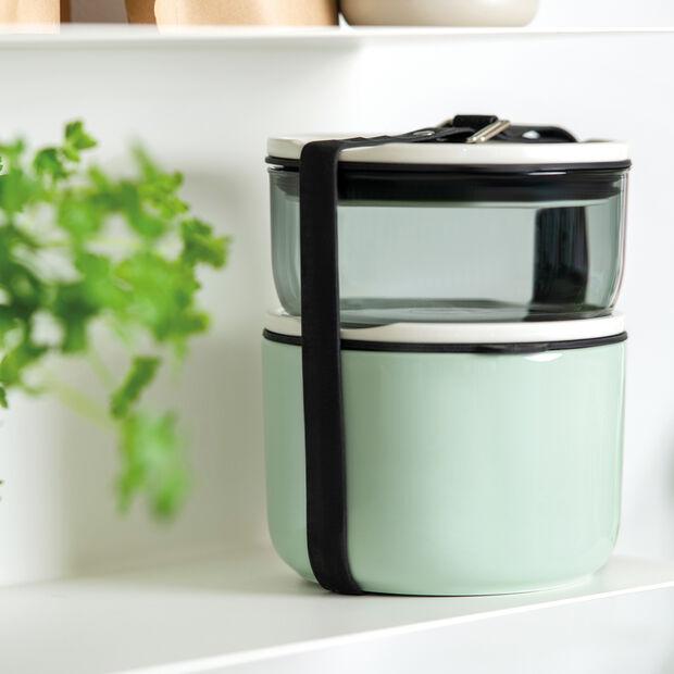 ToGo&ToStay Lunchbox-Set, 2-teilig, glas, grau/mintgrün, , large