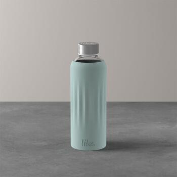 ToGo&ToStay Glas-Flasche, 0,5l, mit Silikonmantel, mintgrün