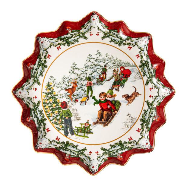 Toy's Fantasy tiefer Gebäckteller Schlittenfahrt, bunt/rot/weiß, 39 x 39 x 3,5 cm, , large