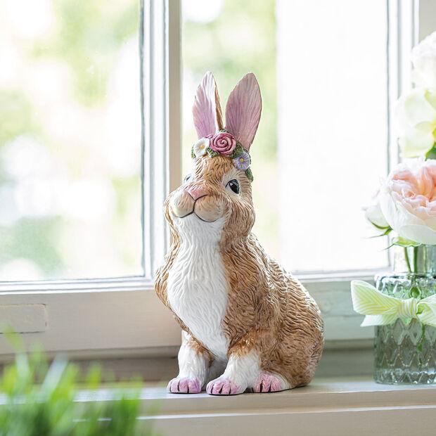 Easter Bunnies großer sitzender Hase mit Blumenkranz, braun/rose, , large