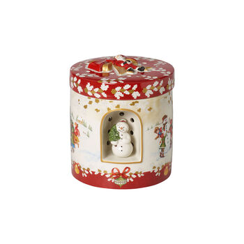 Christmas Toy's großes rundes Geschenkpaket, rot/bunt, 17 x 17 x 20 cm