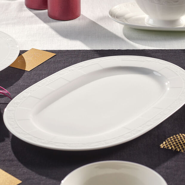 White Pearl Platte oval 35cm, , large