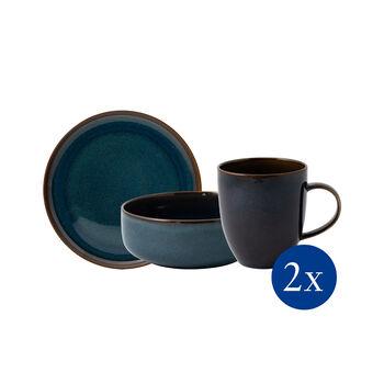 Crafted Denim Frühstücks-Set, blau, 6-teilig