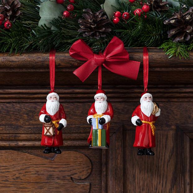 Nostalgic Ornaments Ornamente-Set Santa Claus, 8 x 3,5 cm, 3-teilig, , large