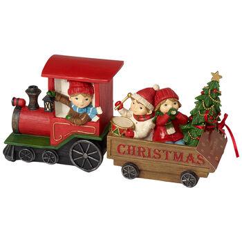 Winter Collage Accessoires Weihnachtszug mit Kindern 29x8x13,5cm