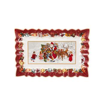 Toy's Fantasy Kuchenplatte eckig, Santa und Kinder 35x23x3,5cm