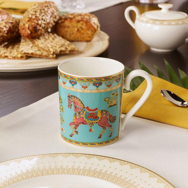 Samarkand Aquamarin Kaffeebecher mit Henkel, , large