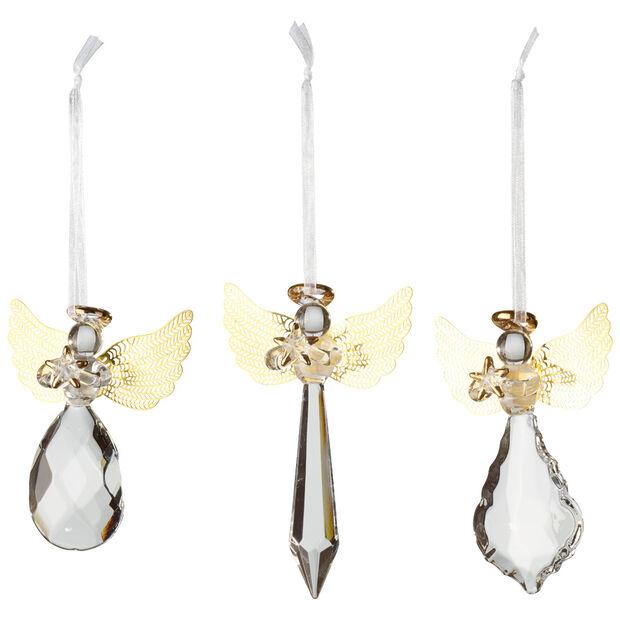 Winter Collage Accessoires Glashänger-Engel-Set, gold, 21 x 11,5 x 3 cm, 3-teilig, , large