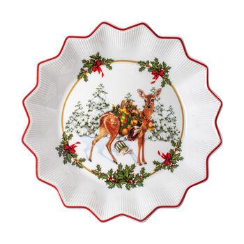 Toy's Fantasy kleine Schale Rehkitz mit Geschenken, bunt/rot/weiß, 16,5 x 16,5 x 3 cm