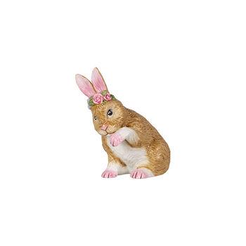 Easter Bunnies kleiner Hase mit Blumenkranz, braun/rose