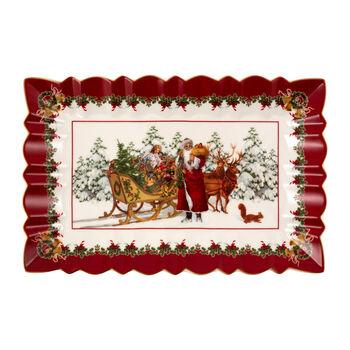 Toy's Fantasy eckige Kuchenplatte Santa mit Schlitten, bunt/rot/weiß, 35 x 23 x 3,5 cm