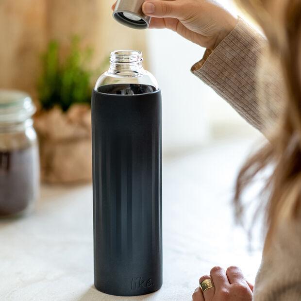ToGo&ToStay Glas-Flasche, 1l, mit Silikonmantel, schwarz, , large