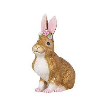 Easter Bunnies großer sitzender Hase mit Blumenkranz, braun/rose