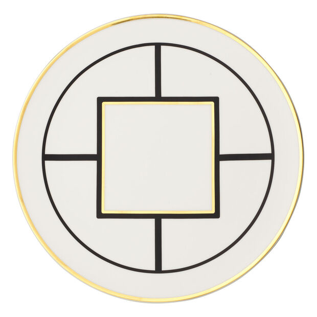 MetroChic Kuchen-/Tortenplatte, Durchmesser 33 cm, Weiß-Schwarz-Gold, , large
